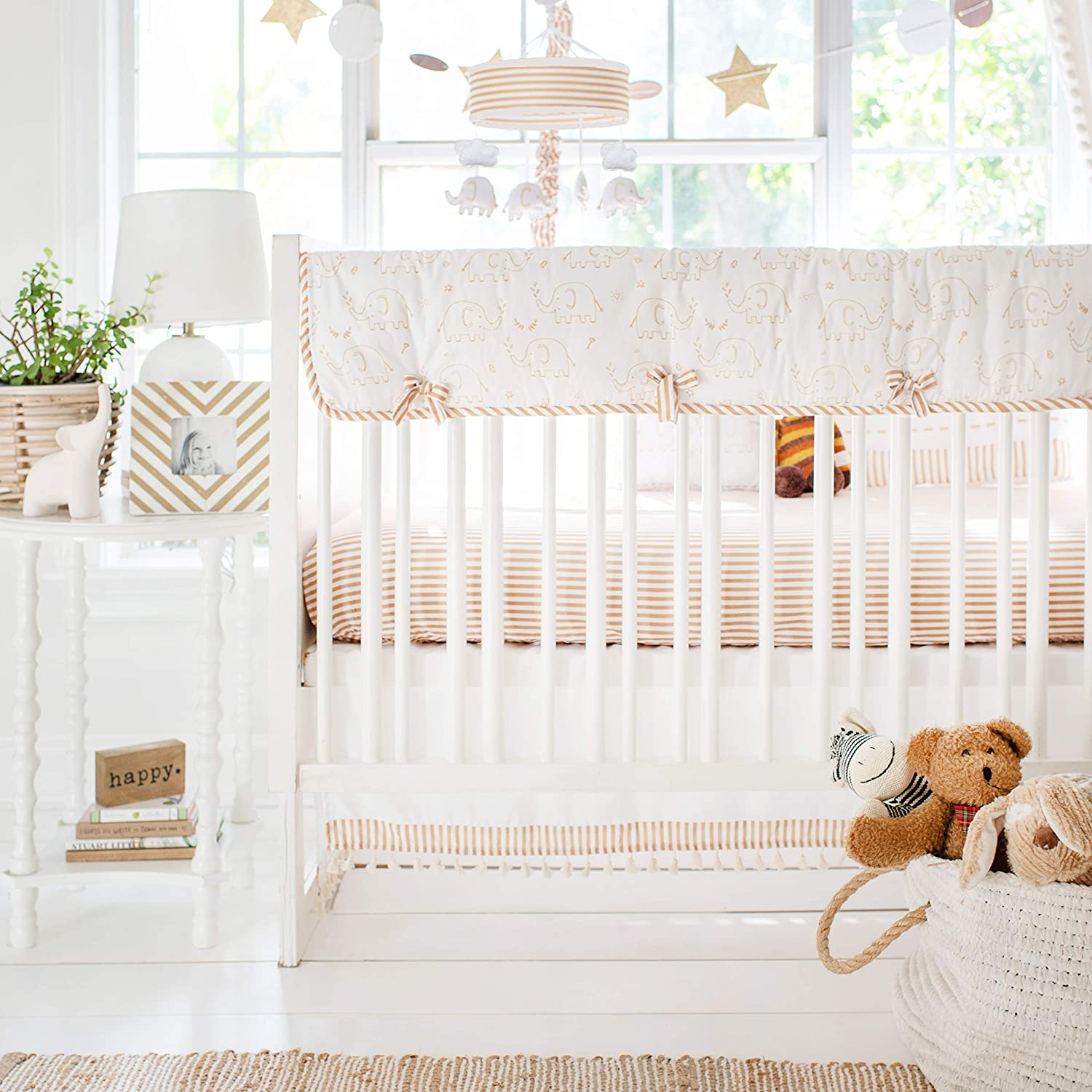 My Baby Sam Heart of Gold Elephant 9Piece Crib Bedding Set, CRIB9188