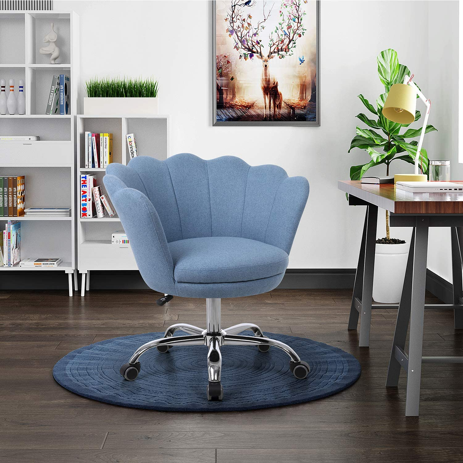 Henf Linen Fabric Accent Chair, Living Room Chair 360 Degree Swivel Shell Chair Home Office Desk Chair Modern Upholstered Vanity Chair with 5 Wheels for Bedroom Makeup (Blue)
