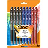 BIC BU3 Grip Retractable Ball Pen, Medium Point (1.0 mm), Assorted Colors, 18-Count
