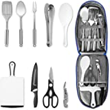 NEXGADGET Camping Kitchen Utensil Set, Portable 9-Piece Stainless Steel Outdoor Cooking and Grilling Utensil with…