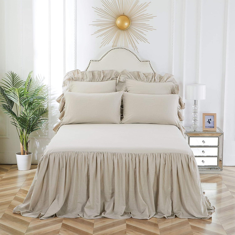 C&F Home Ruffled Queen Bedspread Natural Queen Beige