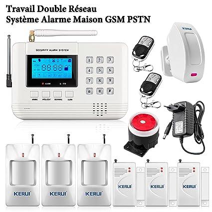 KERUI sistema de alarma doble Q Red Carlos GSM Seguridad Inalámbrico + 4pcs inalámbrico por infrarrojos