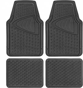 BDK Sharper Image (4-Piece Set) Antimicrobial Car Floor Mats Universal Size, Trim to Fit, Silver-Ion Infused Protection with Anti-Slip Nibs Great for Car Truck Van SUV