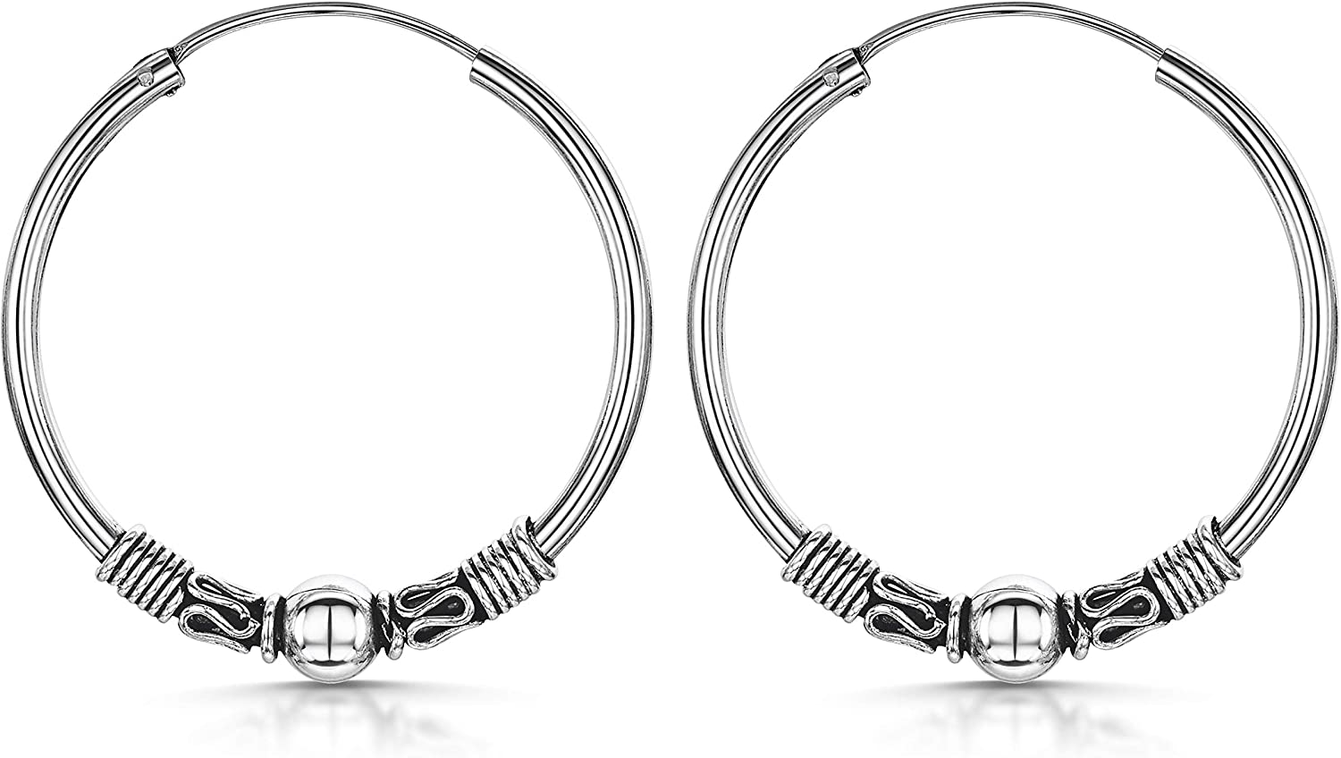 Amberta Fine 925 Sterling Silver - Circle Endless Bohemian Hoops - Round Sleeper Bali Tribal Earrings - Various Types