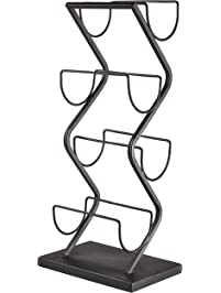 Rivet Contemporary Decorative Curved Metal Countertop Standing Wine Racks - 22 x 10 x 7 Inches, Black