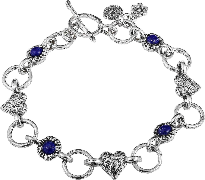 Bracelet Lapislazuli with charm pendant anchor silver plumbered