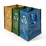 Juego de 3 bolsas de basura para reciclar vidrio, plástico y ...