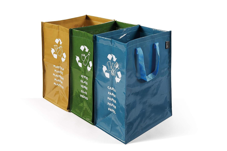 PERFETTO Bolsa de Basura para Exterior, Polipropileno, Verde, Amarillo y Azul, 3x38x27 cm