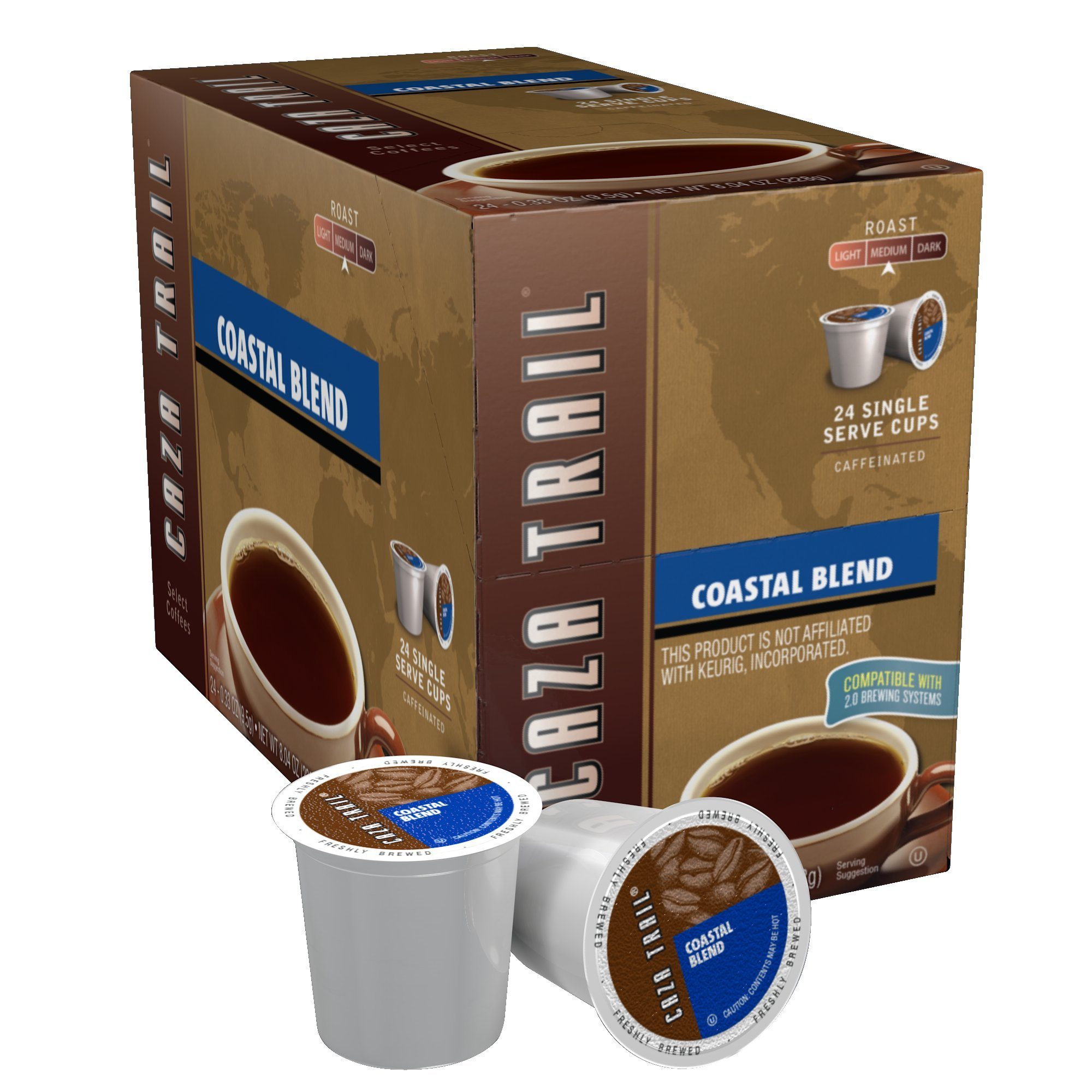 Caza Trail Coffee, Coastal Blend, 24 Single Serve Cups