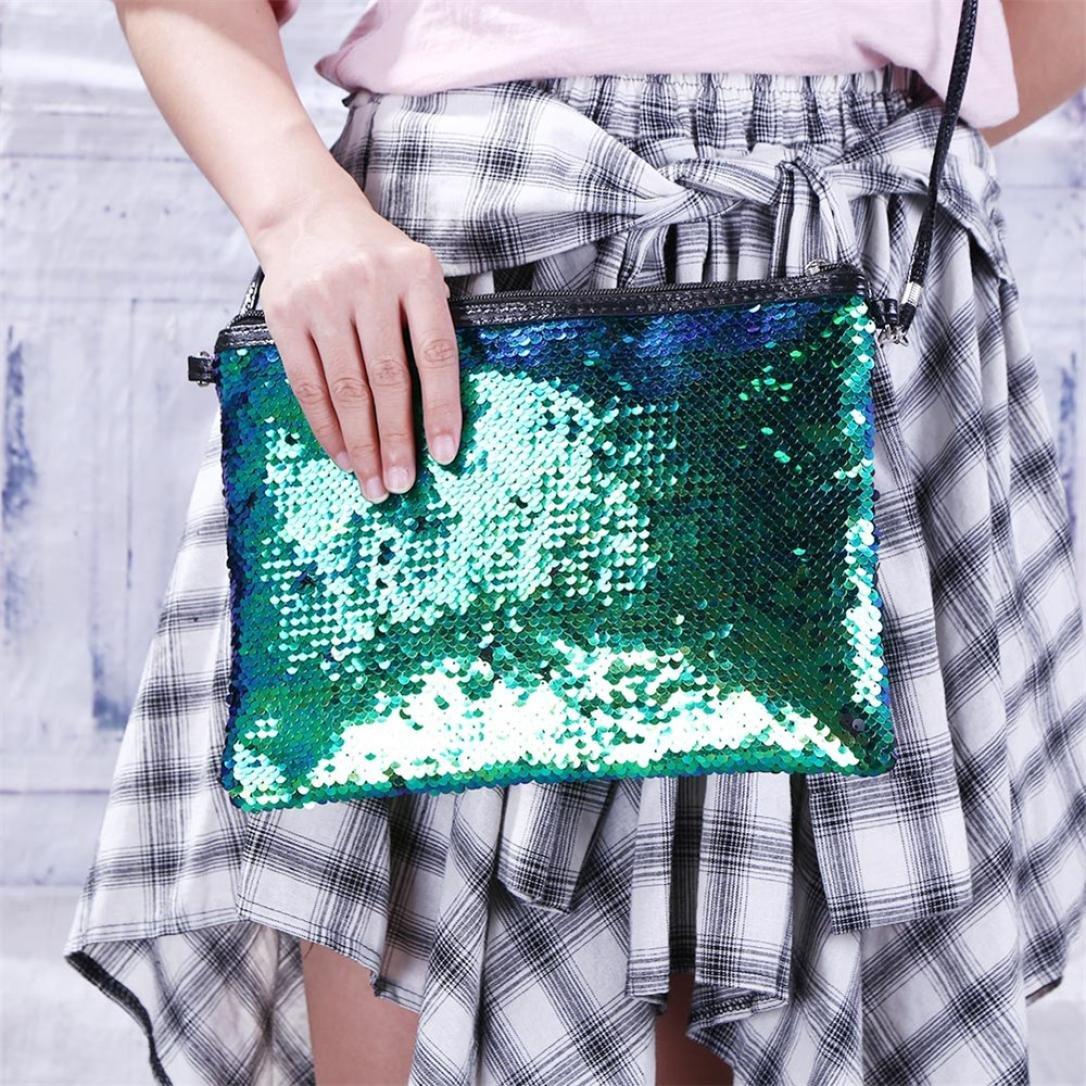 ZYooh Fashion Women Girls Handbag Sequins Tote Purse Messenger Phone Holder Bag Crossbody Shoulder Bags (Green) by iLH_ Crossbody Bag (Image #2)