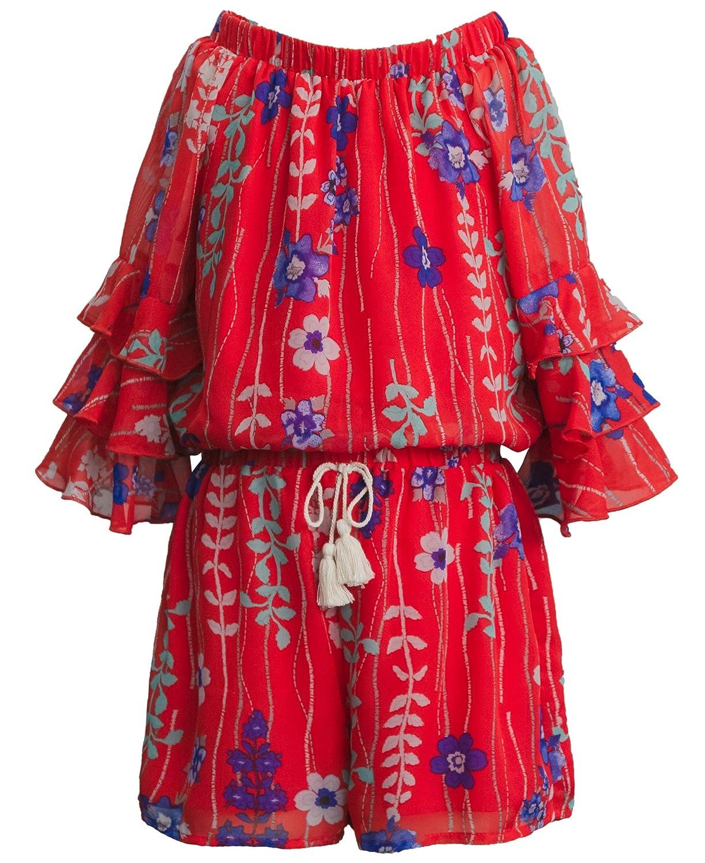 Real Love Big Girls Blue Floral Print Tassel Off-Shoulder Romper 7-16