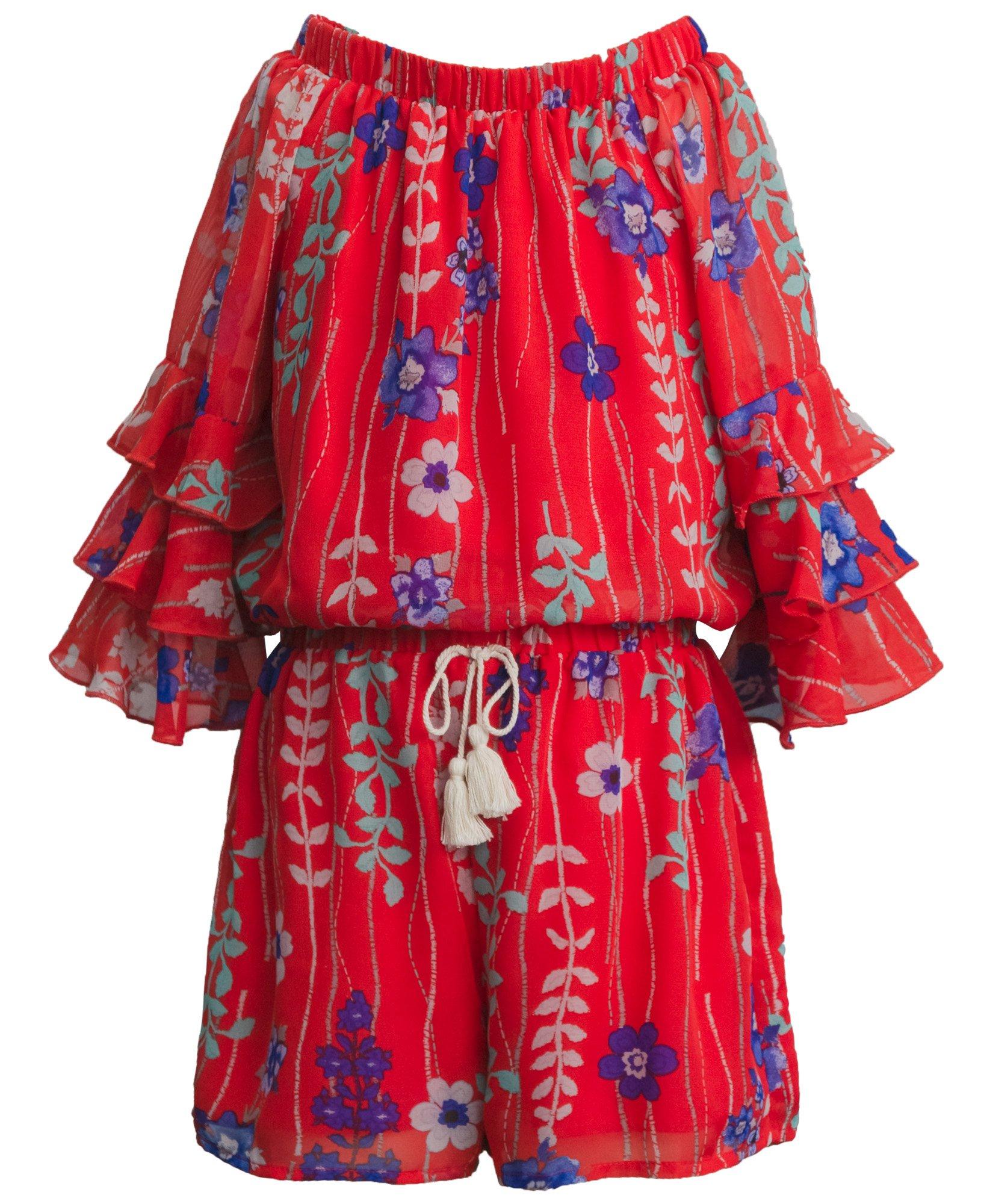 Truly Me, Big Girls Tween Gorgeous Chiffon Romper (Many Options), 7-16 (8, Red Multi)