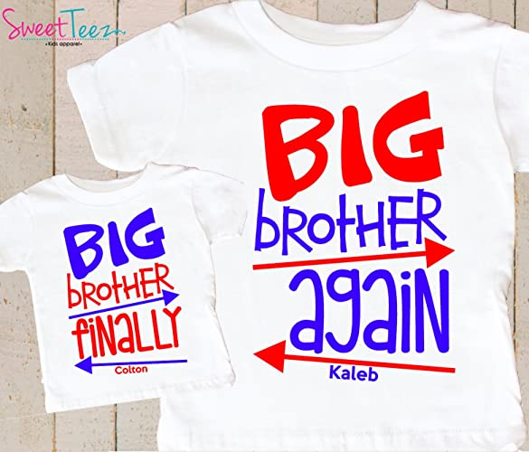 80e6323dde17f Amazon.com: Big Brother Again Big Brother Finally Shirts Set Personalized  Pregnancy Announcement Shirts For 4th Of July: Handmade