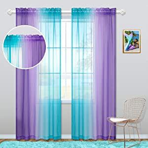 Kids Curtain Rod Pocket for Girls Bedroom Sets Coloful Ombre Aqua Turquoise Teal Lilac Purple Window Sheer Drapes Aesthetic Mermaid Curtains for Teen Room Decor Nursery Living Area 52 x 84 Inch Length