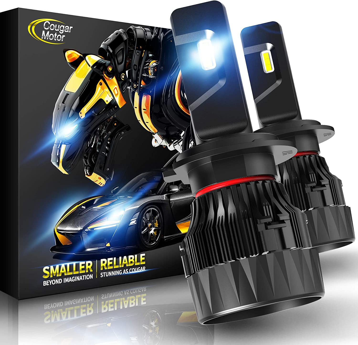 Cougar Motor X-Small H7 LED Headlight Bulb, 10000Lm 6500K All-in-One Conversion Kit - Cool White CREE