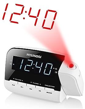 Hyundai - Lcd despertador digital reloj de proyección radio reloj despertador radio reloj 2 alarmas proyección de la hora en el techo o pared +: Amazon.es: ...