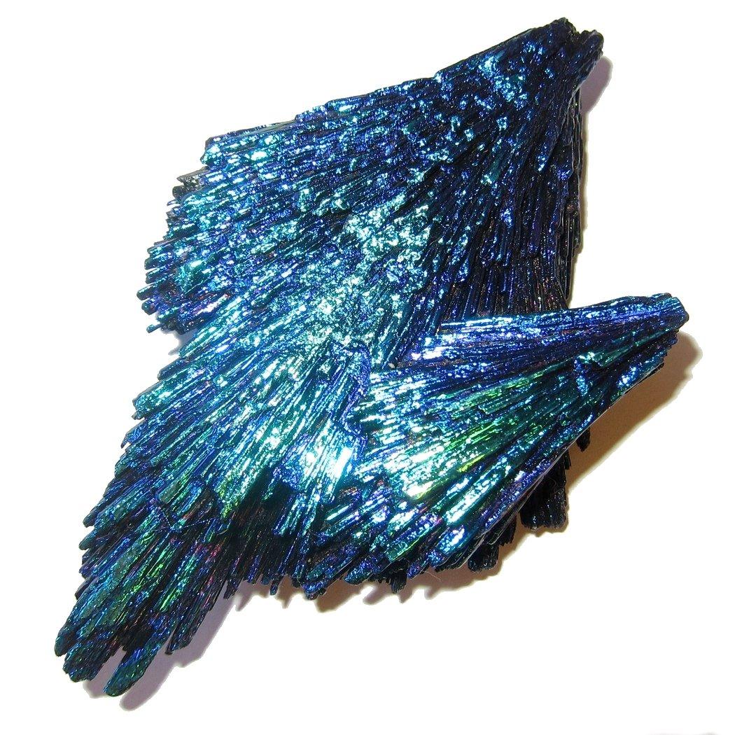 Satin Crystals Kyanite Cluster 4.3'' Premium Dichroic Hummingbird Blue Rainbow Aura Crystal Soaring Spirit Guide Stone P02