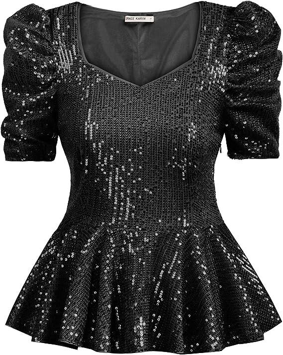80s Tops, Shirts, T-shirts, Blouse GRACE KARIN Womens Puff Sleeve Ruffle Hem Sparkle Shimmer V-Neck Sequin Blouse $22.99 AT vintagedancer.com