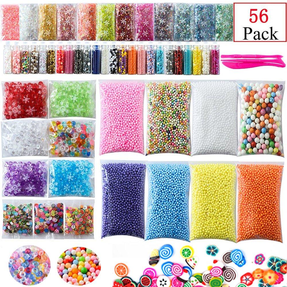 56 Packs DIY Slime Supplies Kit, Fishbowl Beads, Foam Balls, Glitter Jars, Fruit Slices, Mucus Tool Make Your Own Craft Homemade Sunreal