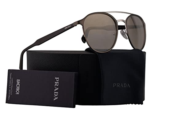 bd895aaf78d8 Image Unavailable. Image not available for. Color  Prada PR62TS Sunglasses  Matte Light Brown Silver w Gold Brown Gradient Mirror ...