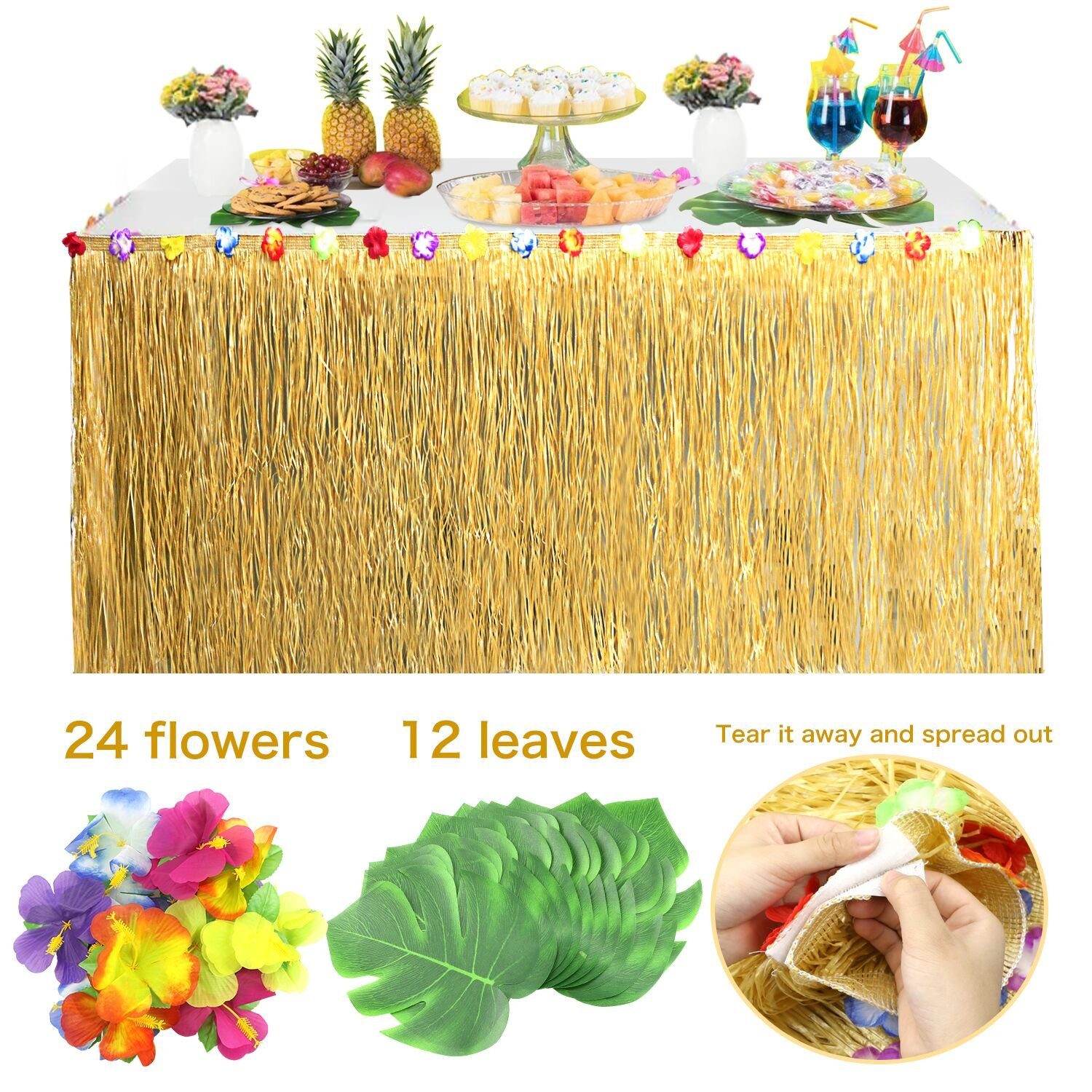 Buluri 1pc Hawaiian Luau Grass Table Skirt (108 x 29.5in) + 24pcs Hibiscus Flowers + 12pcs Tropical Medium Turtle Leaves for Beach, Birthdays, Tiki, Tropical Island, Party, Luau Decoration