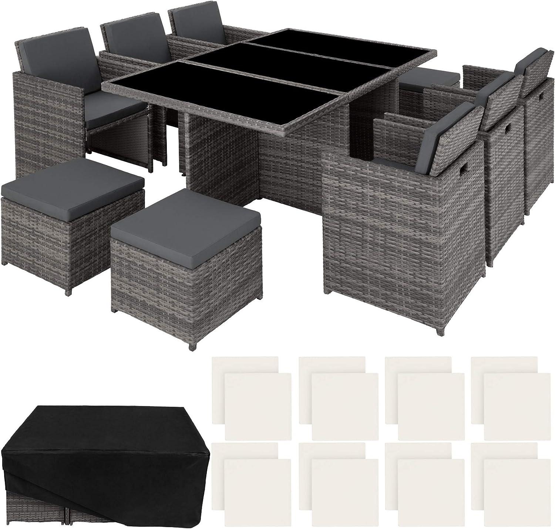 TecTake Poly ratán Aluminio sintético Muebles de jardín Comedor Juego 6+4+1 + Funda Completa + Set de Fundas Intercambiables (Gris | No. 403086)