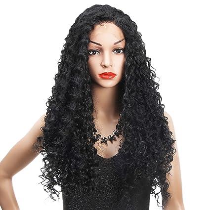 REAMIC Kinky Curly Black Wigs Pelucas Afro de Encaje Sintético con Cabello de Bebé Pelucas de