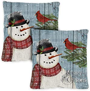 Toland Home Garden Joy To The World Snowman 18 x 18 Inch Indoor, Pillow, Case (2-Pack)