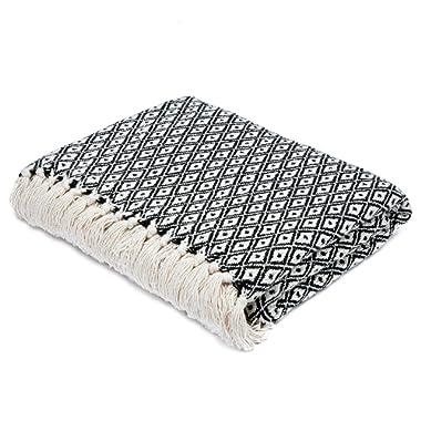 Americanflat Omala Black and Cream Mini Diamond Cotton Blanket Throw with Fringe - 50x60 Inches
