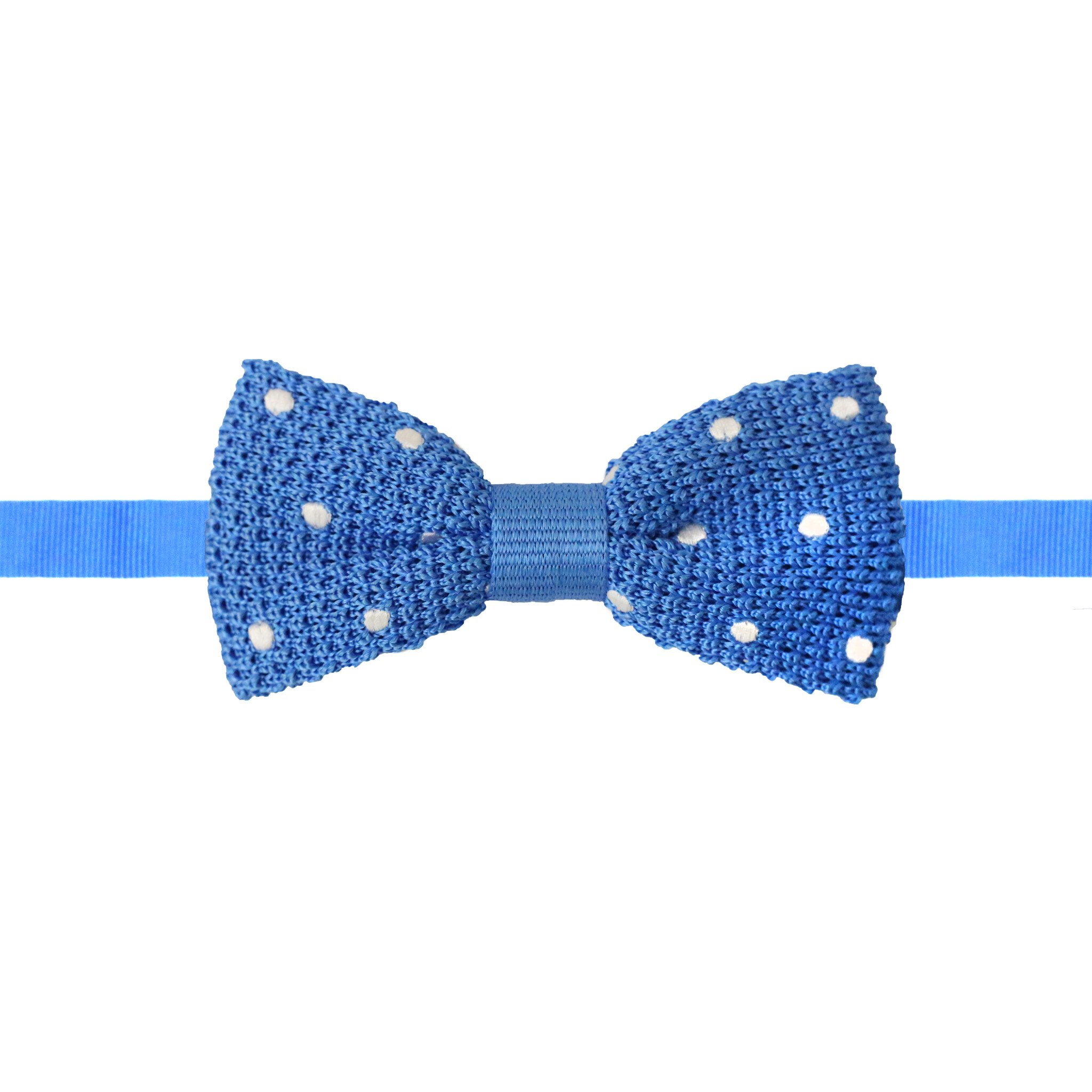 Knit Polka Dot Bow Tie Sky Blue