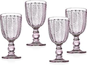 Twill White Wine Goblet Beverage Glass Cup by Godinger – Rose Pink – 6oz, Set of 4