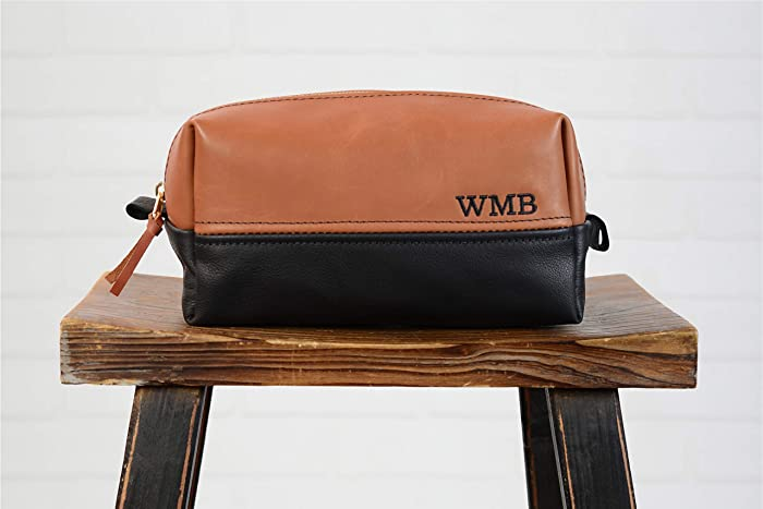 Personalized Leather Dopp Kit Groomsmen Gift   Monogram Two Tone Leather Mens  Toiletry Bag Wash Bag Travel Case   Leather Gift for Husband Dad Grad ... d7b45b707f