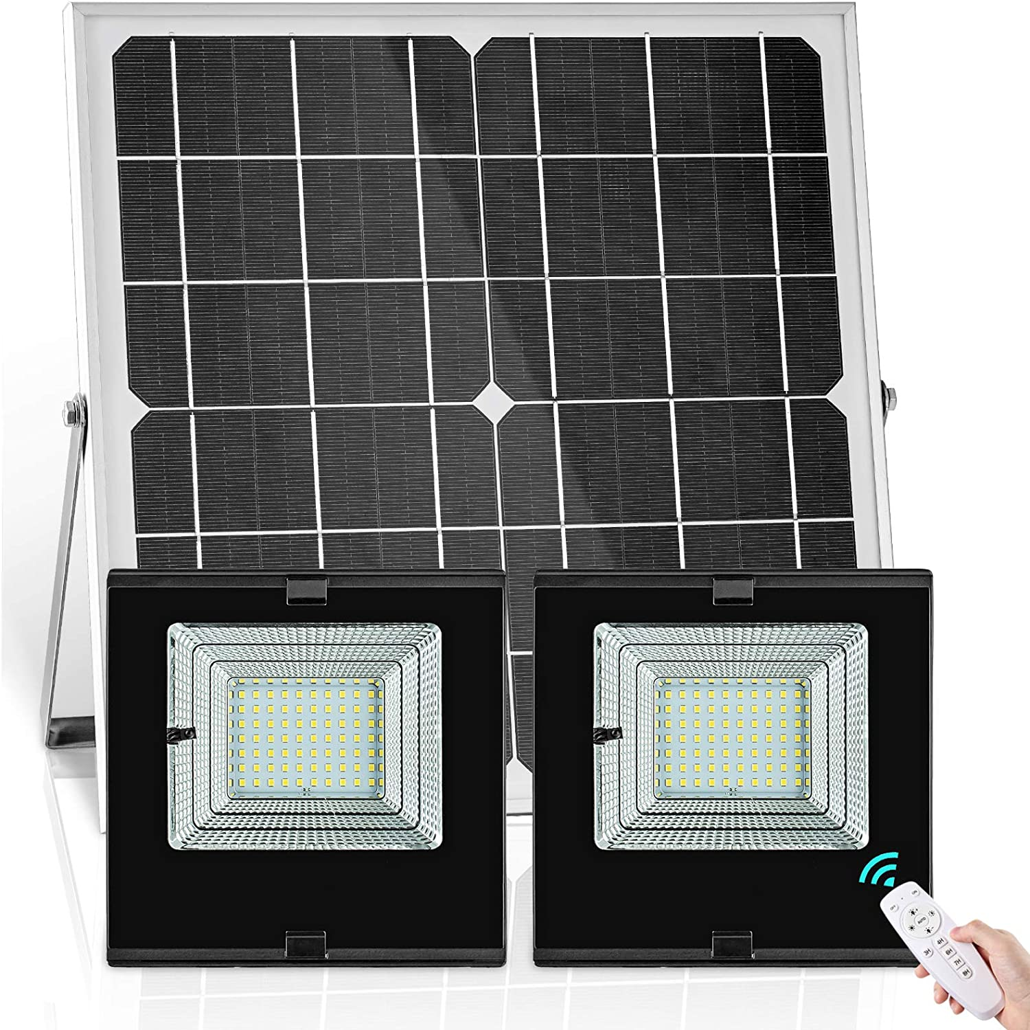 Solar Flood Lights Outdoor Indoor Dual Head with Smart Remote Control 22W Solar Panel 70LED IP65 Waterproof Dusk to Dawn Solar Power Shed Security Light for Garden Path Pool Patio Sign Barn Backyard