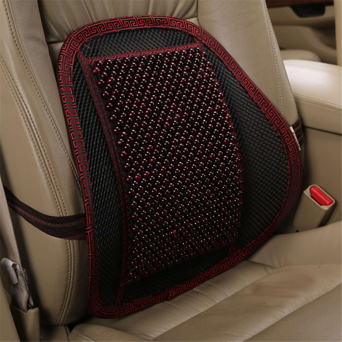 INCH EMPIRE Lumbar Support Wood Beads Massage Pillow Cushion with Strap - Summer Cool Winter Warm Back Pillow for Car Seat,Office and Home Chair by INCH EMPIRE (Image #1)