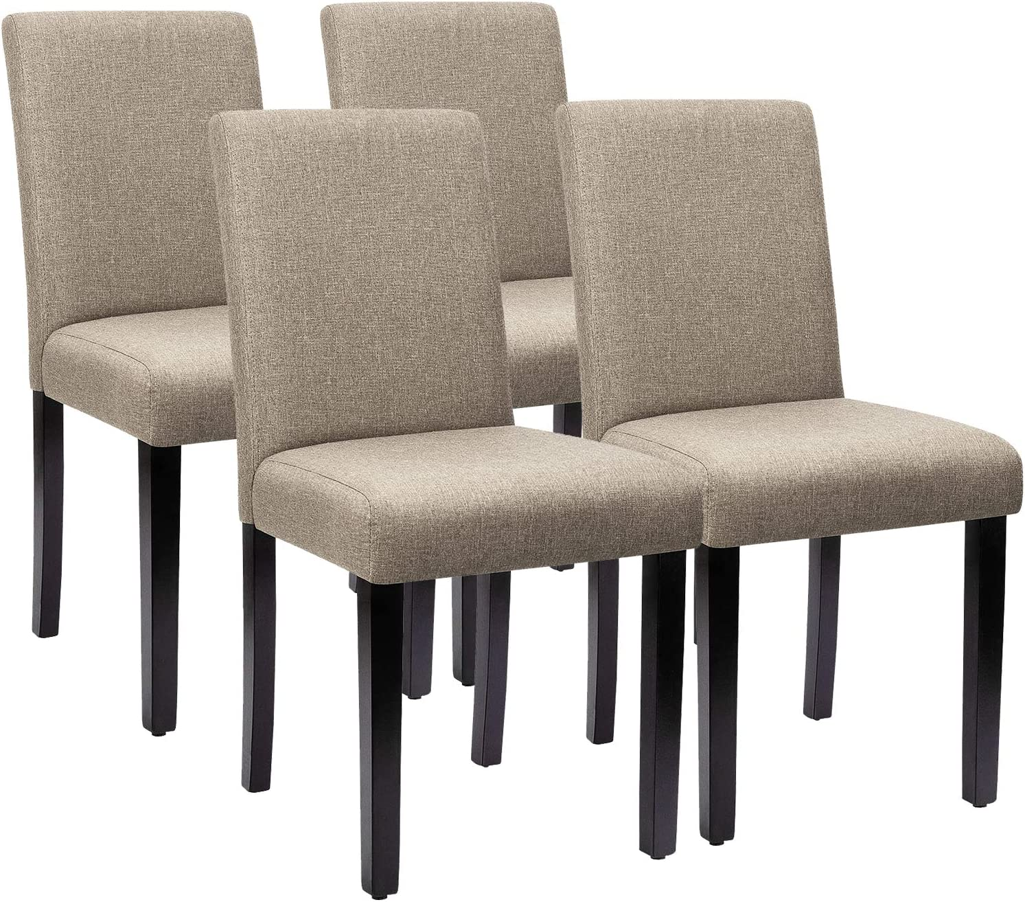 Furniwell Dining Chairs Fabric Upholstered Parson Urban Style Kitchen Side  Padded Chair with Solid Wood Legs Set of 10 (Beige)