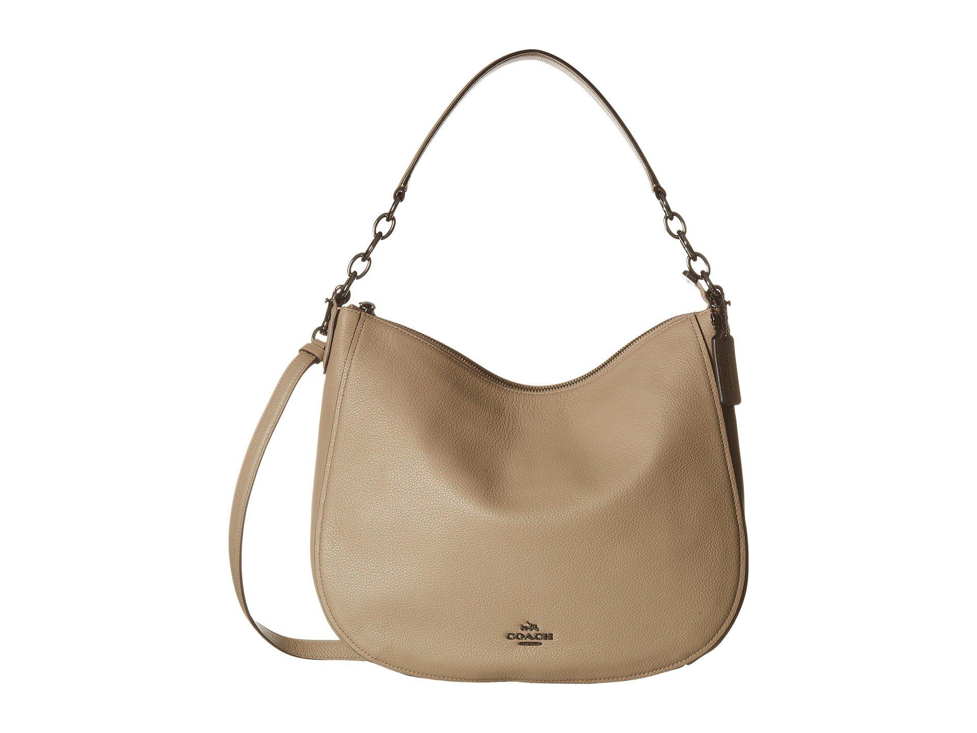 COACH Women's Polished Pebbled Leather Chelsea 32 Hobo Dk/Stone Handbag