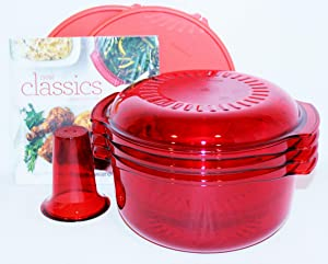 Tupperware 7 Piece Microwave Stack Cooker Set with Recipe Book in Red