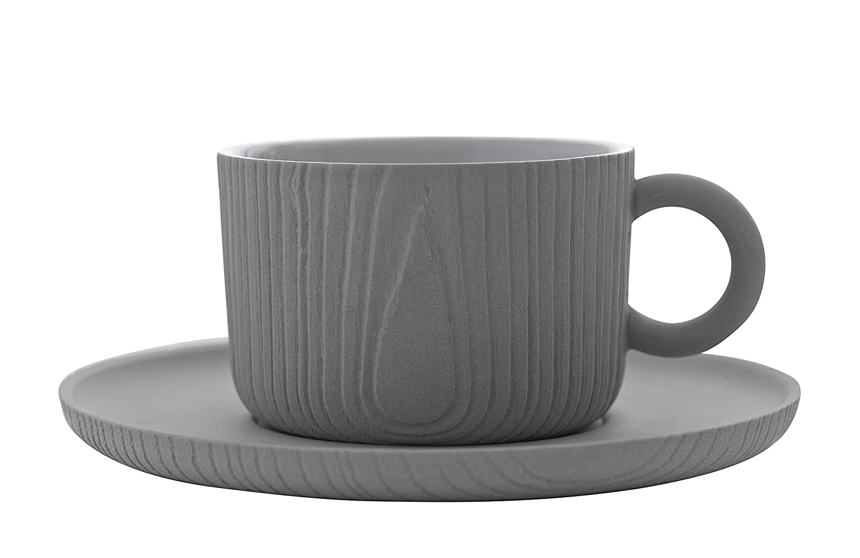 Toast Living USA Mu-Coffee Cup and Saucer, Gray US.LT01202