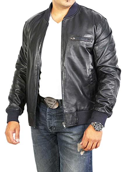 Mens Classic Bomber Leather Jacket Bradley Navy Blue Fitted Gents