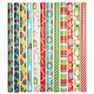 Paper Craft (12 Count Jumbo Christmas Wrapping Paper Rolls Set for Xmas & Holiday Gifts Presents Bulk Assortment
