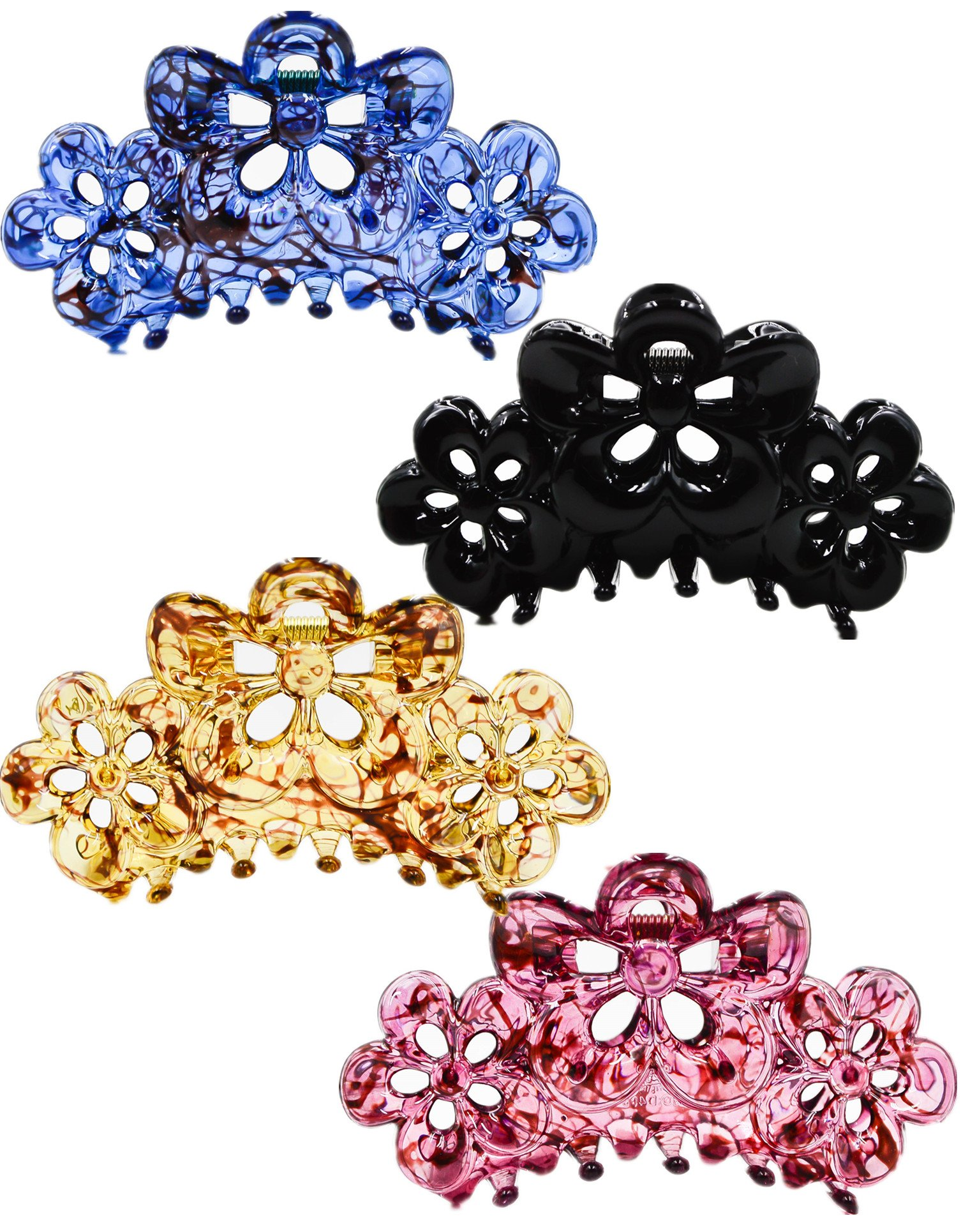 Prettyou 3.5'' Effortless Beauty Assorted Hollow flowers Hair patterns Hair Claws,4-count