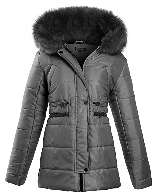 shelikes Womens Ladies Faux Fur Hooded Padded Quilted Longline Zip Up Puffer Collar Jacket Coat Size 8 10 12 14 16