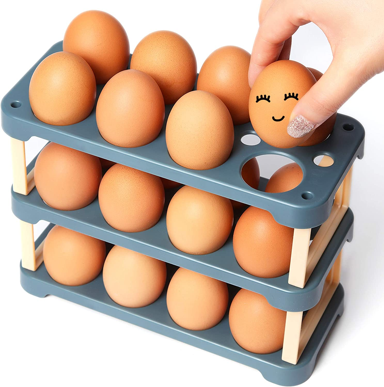 Ease.Life 24 Egg Holder for Refrigerator with 3 Reusable Egg Cartons - BPA Free Plastic Egg Holder for Fridge Organizer - DIY Deviled Egg Tray Customizable Egg Container for Refrigerator Door (Blue)