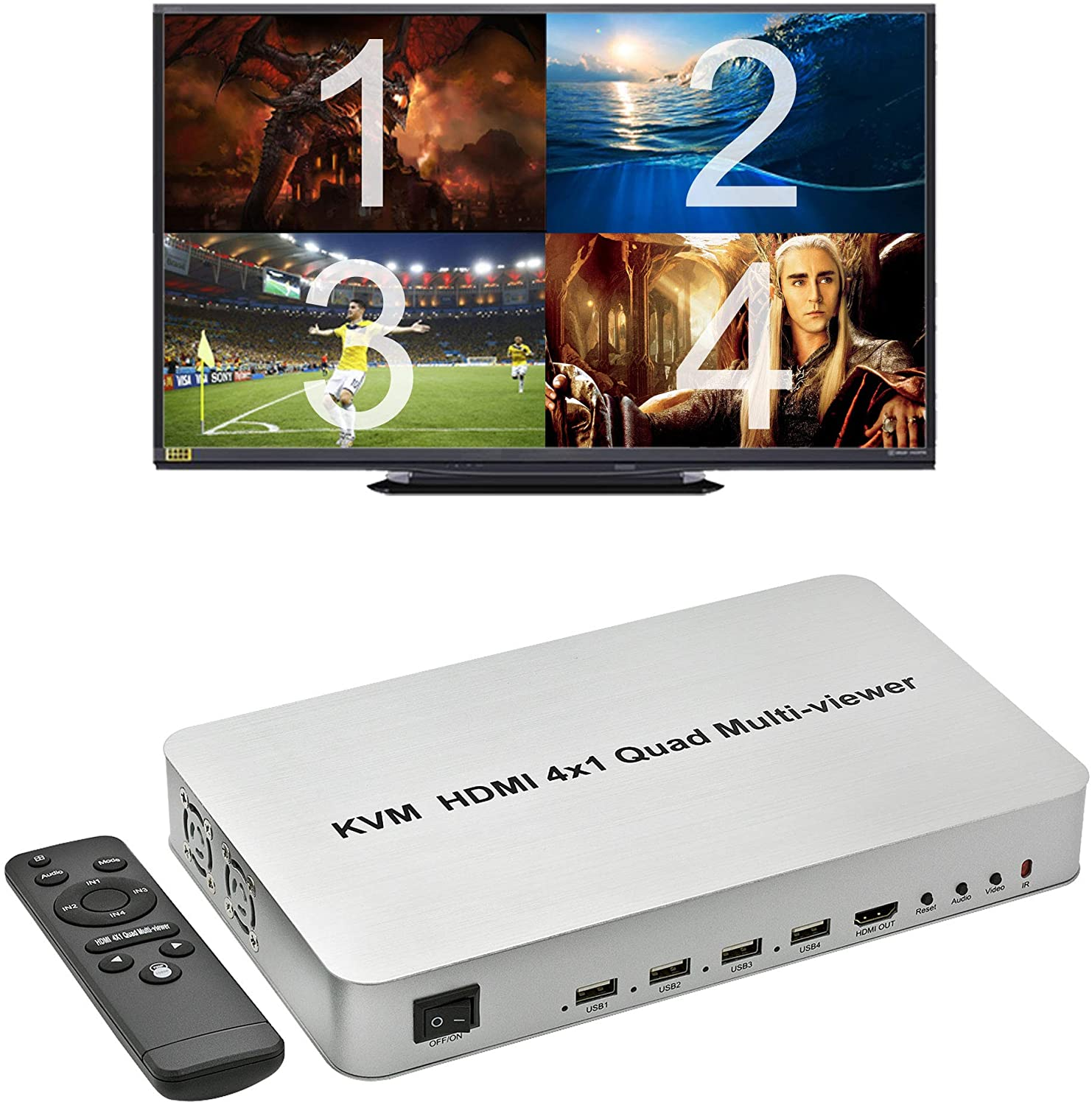 Expert Connect 4 Ports Quad HDMI KVM Multi-Viewer/Screen Divider/Switch | 1080p @ 60Hz | 5 Viewing Modes | USB Switch | Shares 4 USB Devices on 4 Computers