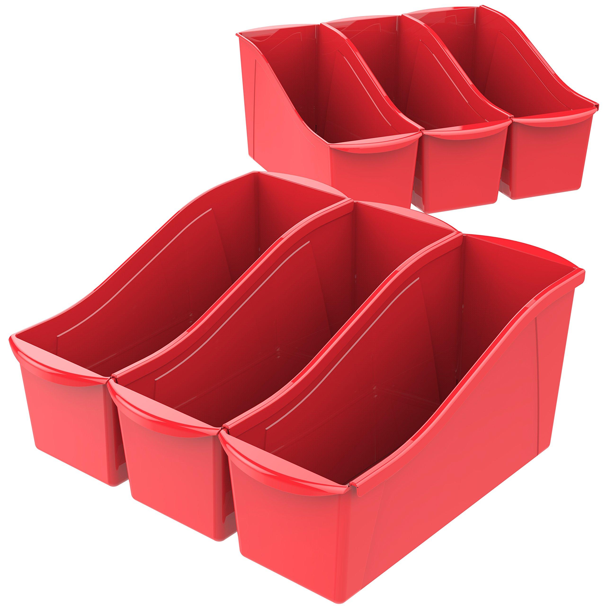 Storex Large Book Bin, 14.3 x 5.3 x 7 Inches, Red, Case of 6 (71116U06C) by Storex