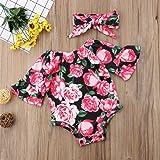 Newborn Baby Girl Floral Bodysuit+Headnband 2pcs