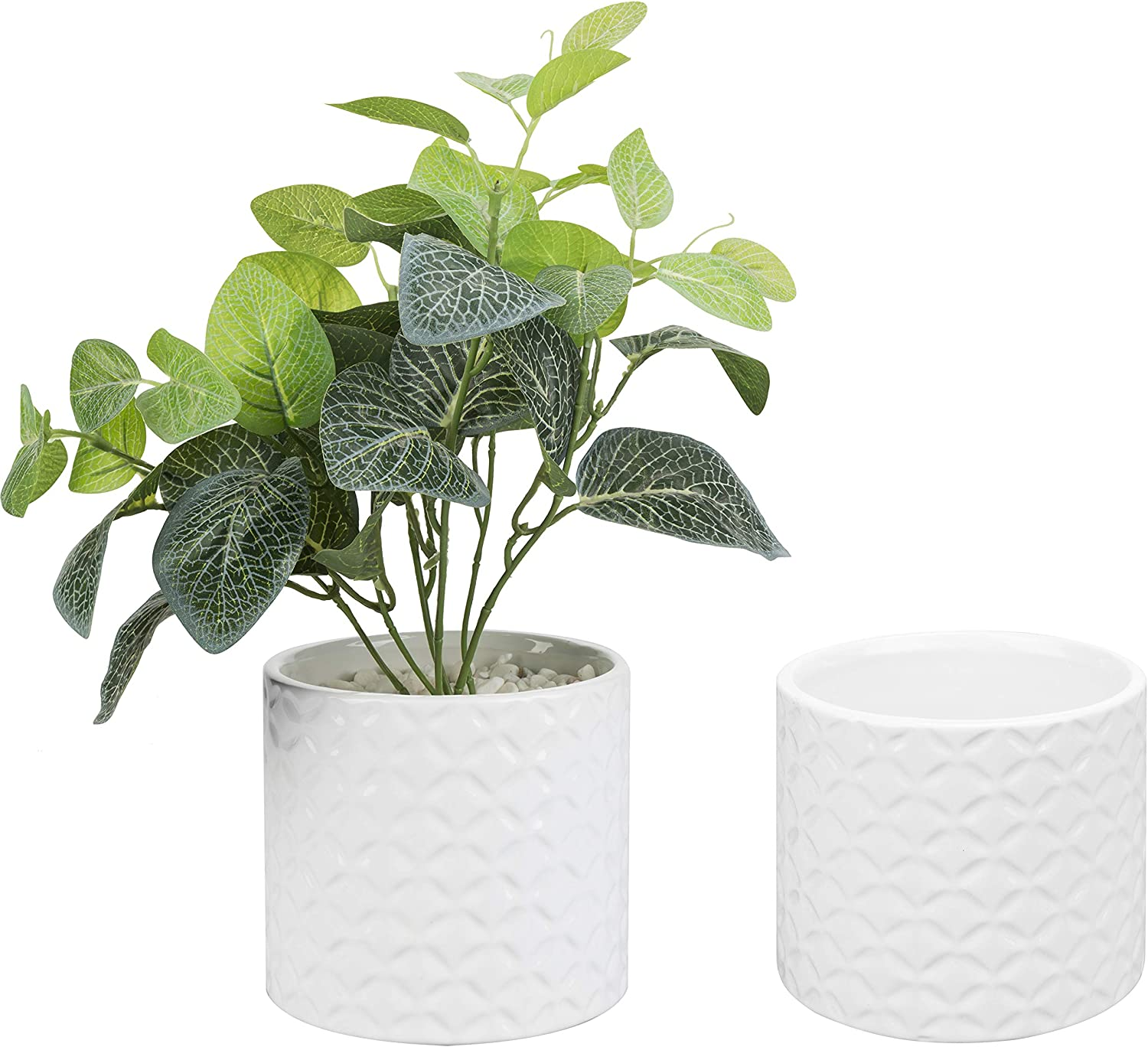 MyGift 5 Inch White Ceramic Round Planter Pot with Diamond Texture, Set of 2