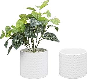MyGift 5 Inch White Ceramic Round Planter Pot with Diamond Texture, Set of 2