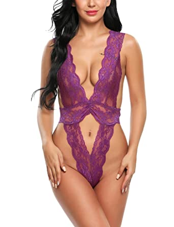 197de4ea99 Image Unavailable. Image not available for. Color  Hindom Women Sexy Deep V  Neck Lingerie Bodysuit Backless Lace Teddy Nightwear