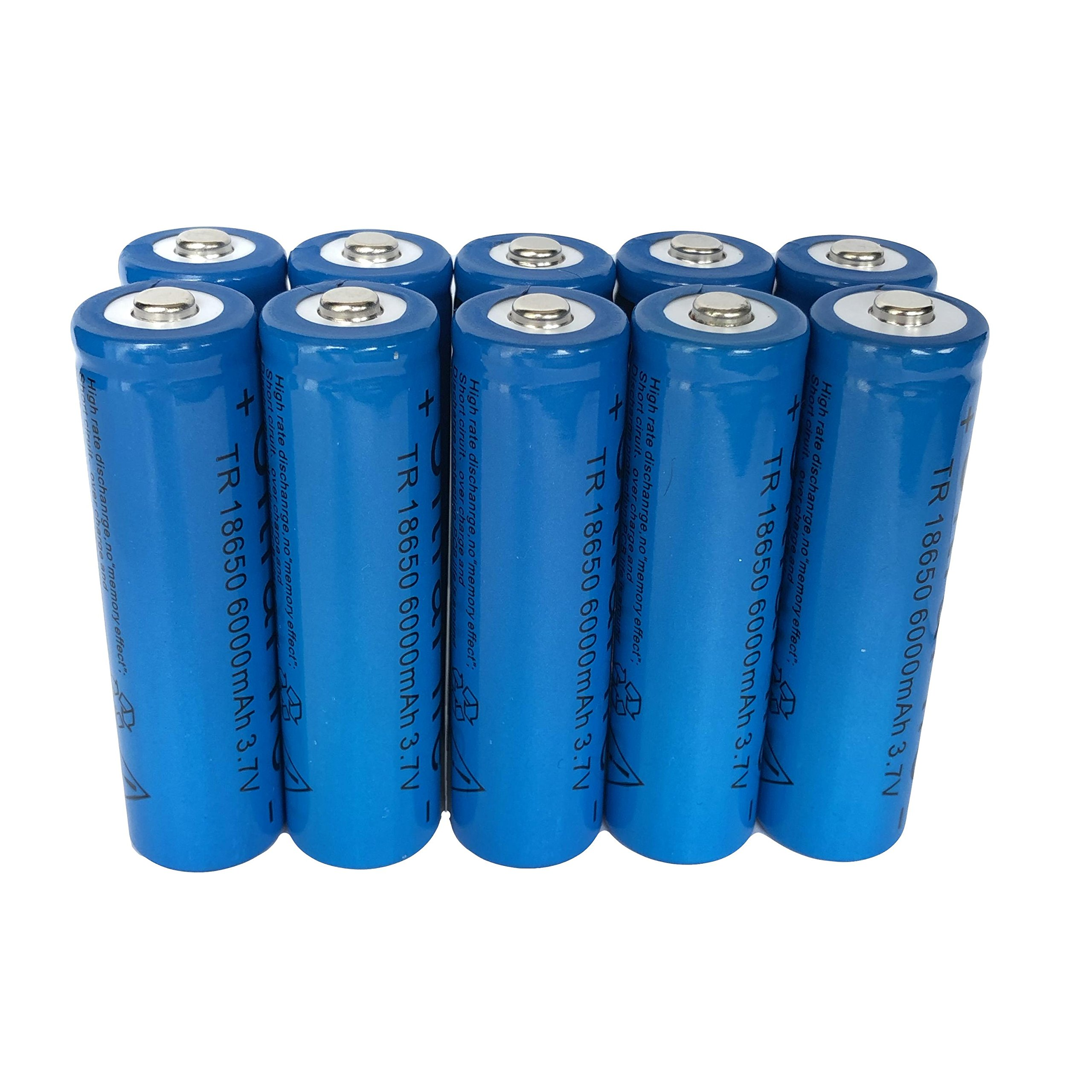 10 Pack 3.7v 18650 Li-ion Battery Rechargeable 6000mAh Lithium Button Top Batteries Applicable for LED Flashlight Ship from USA